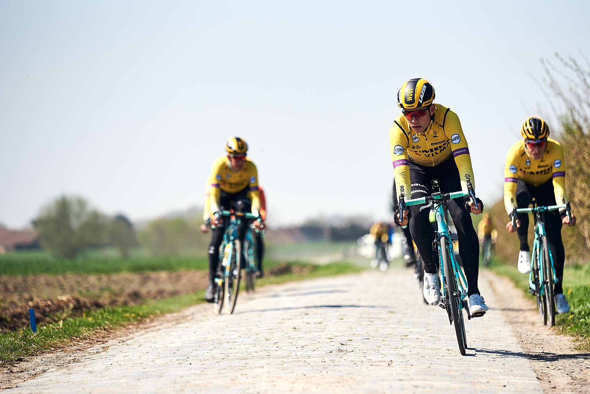 Jumbo-Visma classics riders including Wout van Aert doing recon of Paris-Roubaix
