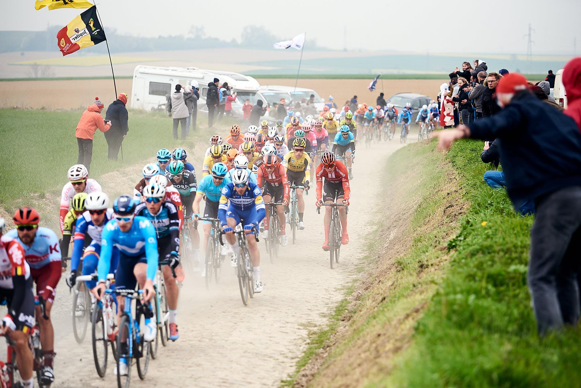 Paris-Roubaix Peloton on the cobbles