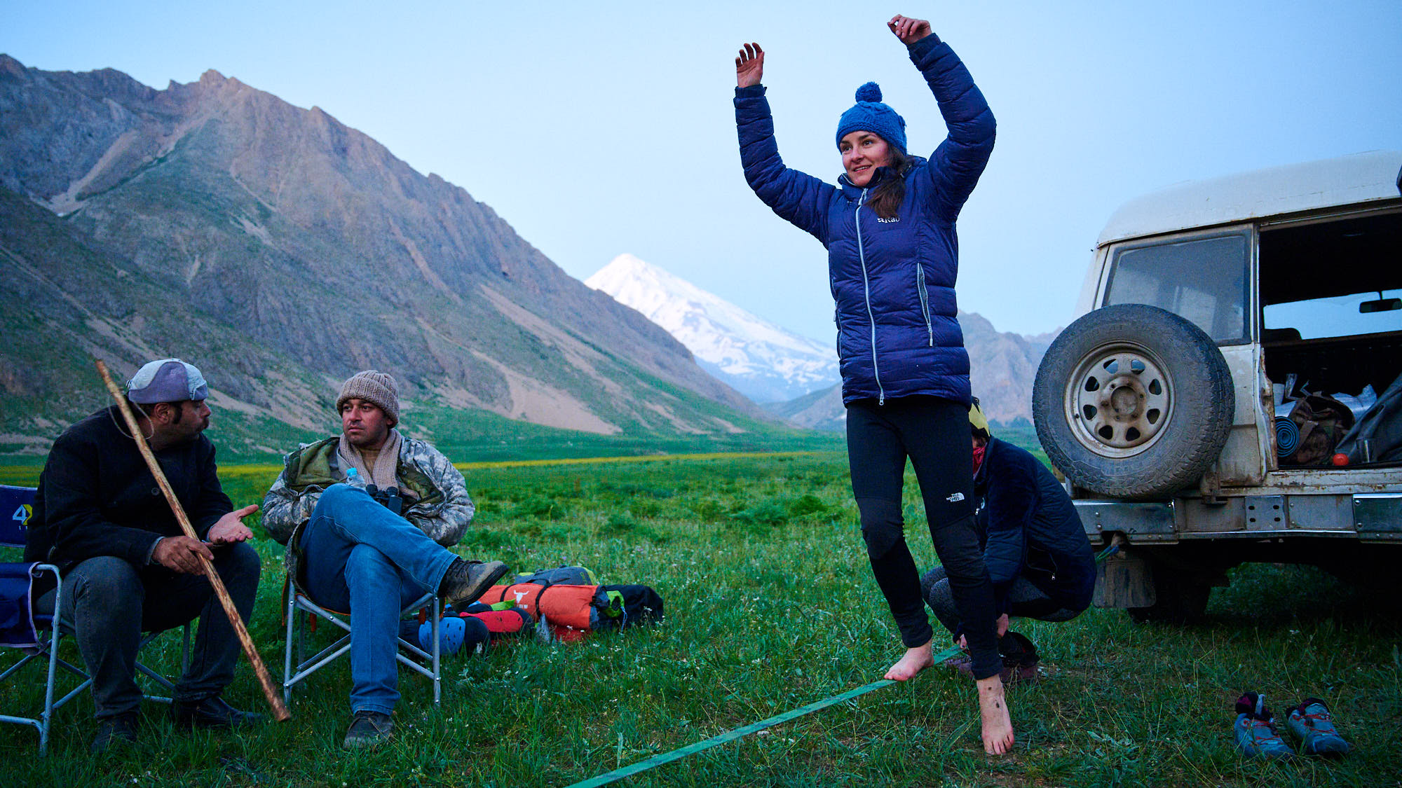 Slacklining in Dar valley in Iran