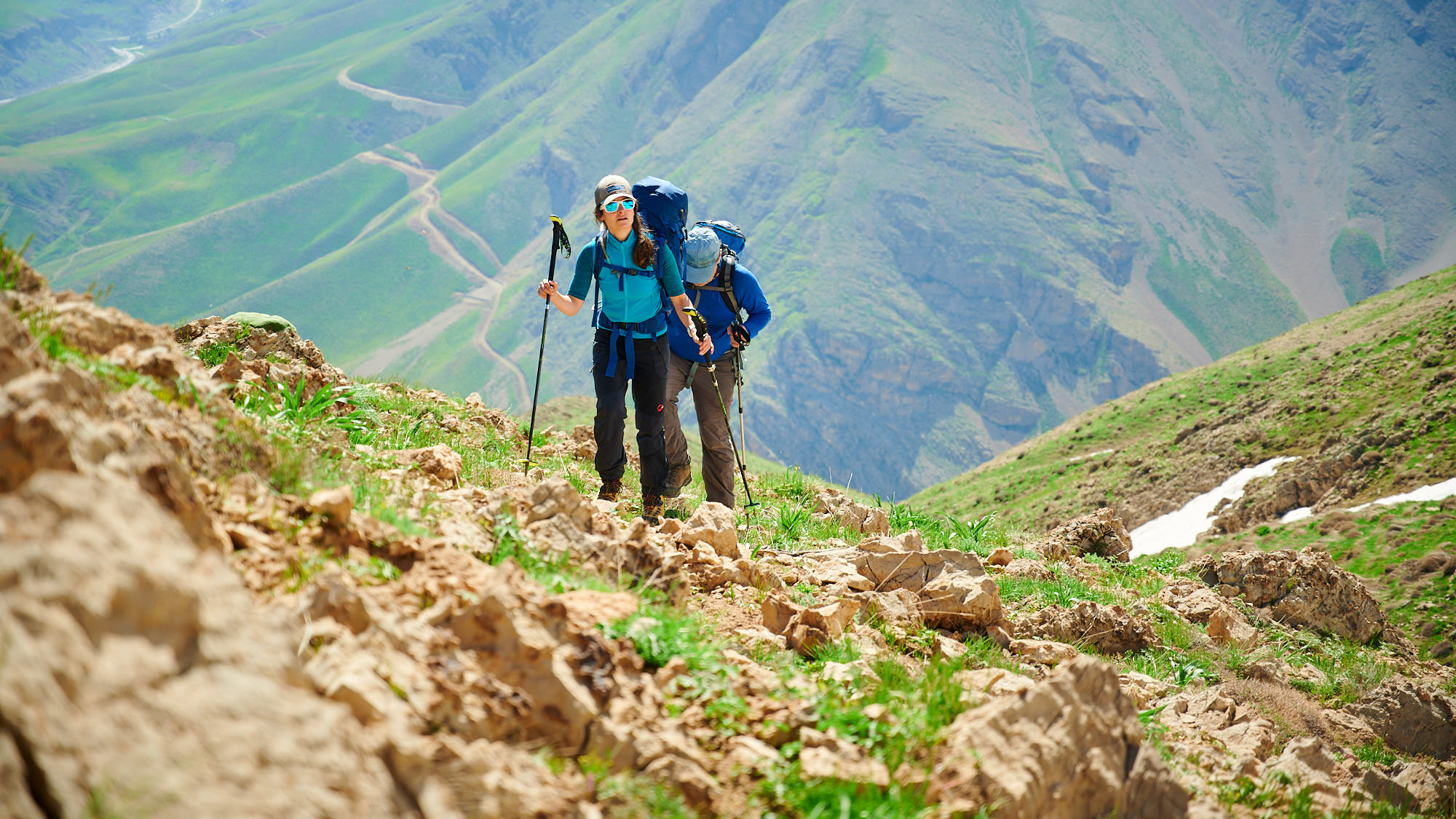 Hikers near Poulor and Mount Damavand in Iran
