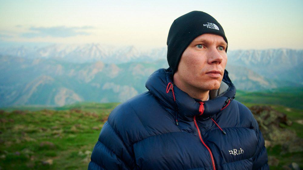 Portrait of a mountaineer near Mount Damavand high camp