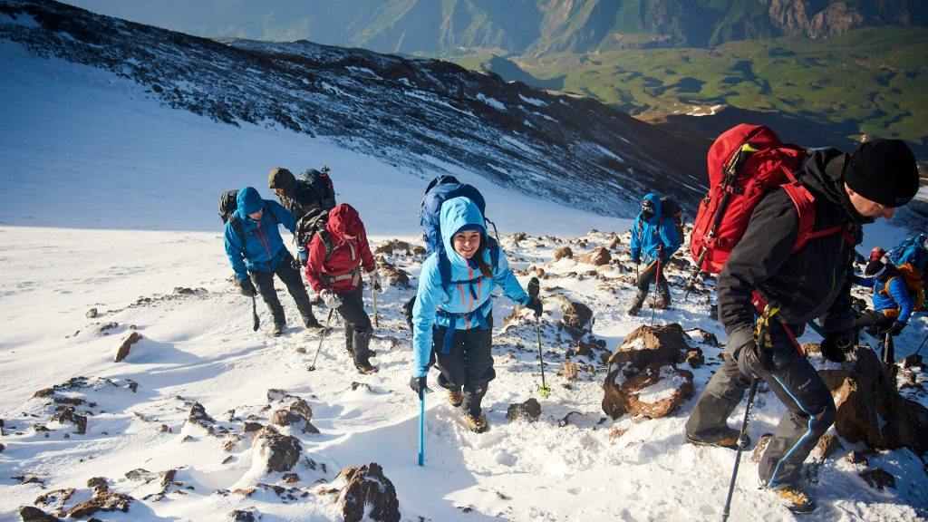 Group of mountaineers climbing Mount Damavand in Iran