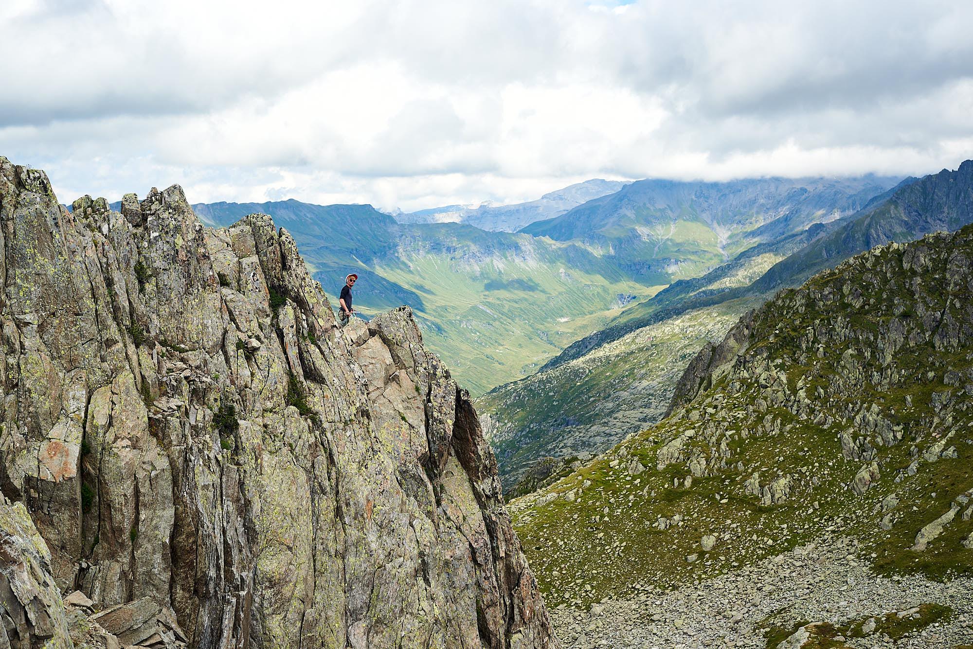 Climber in a mountainous landscape near Chamonix in France