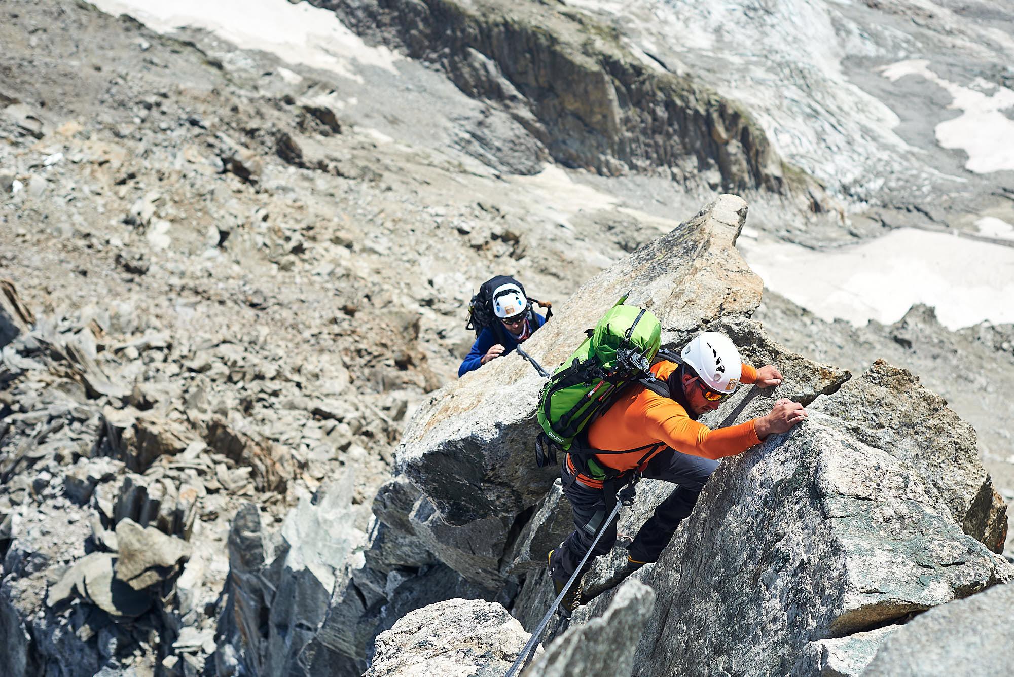 Mountaineers in the Italian Alps, rock climbing