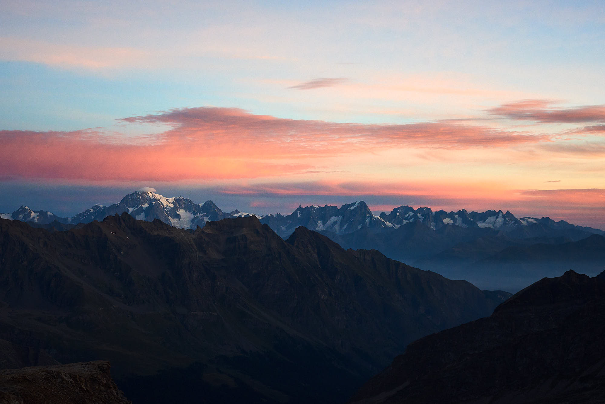 View of sunrise over Mont Blanc, taken from Gran Paradiso mountain in Italy