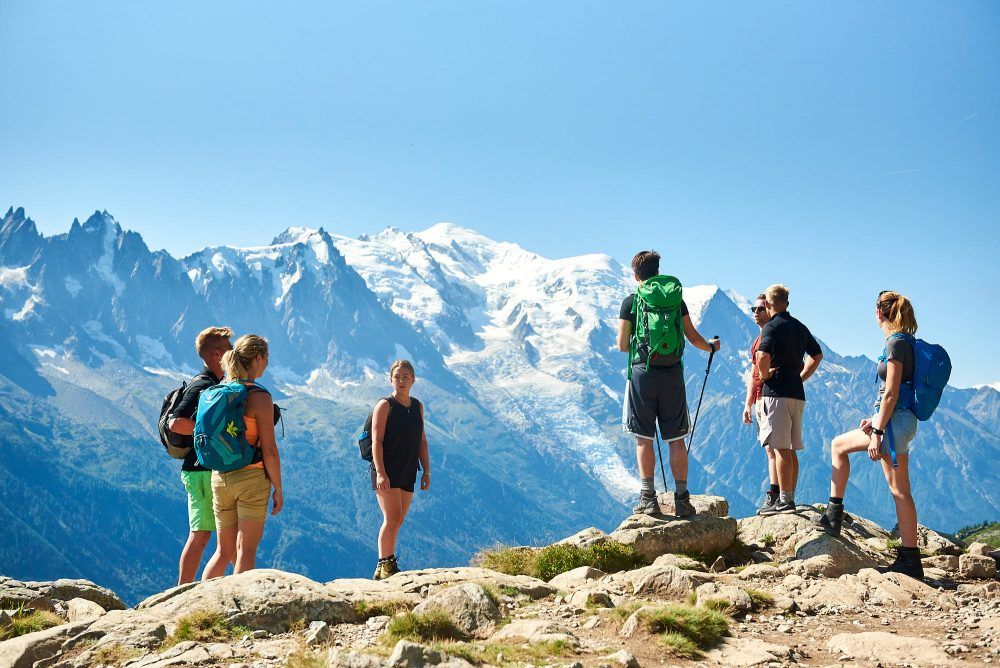 Group of hikers in front of Mont Blanc in France