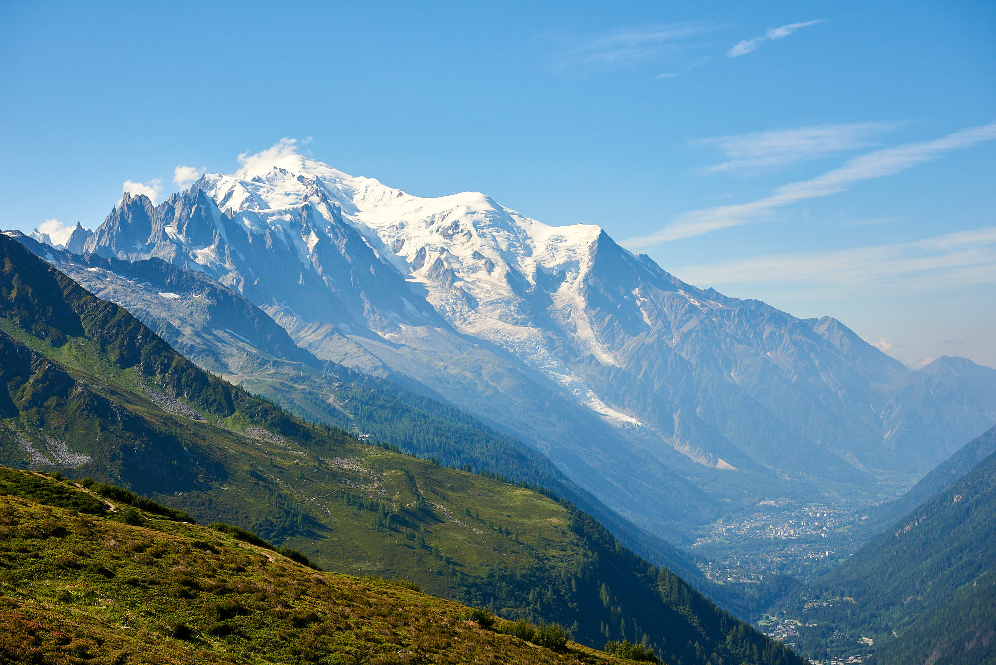 View of Mont Blanc and Chamonix in France