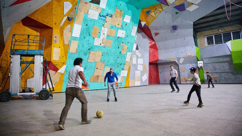 Playing football in a climbing gym at the foot of Mount Damavand in Iran