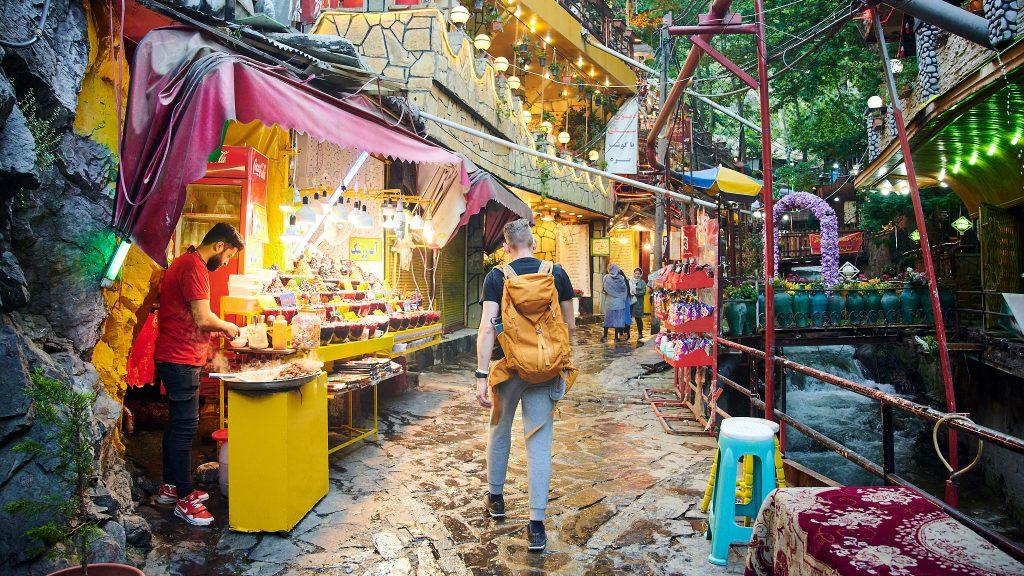 Tourist in Darban street in Tehran, Iran
