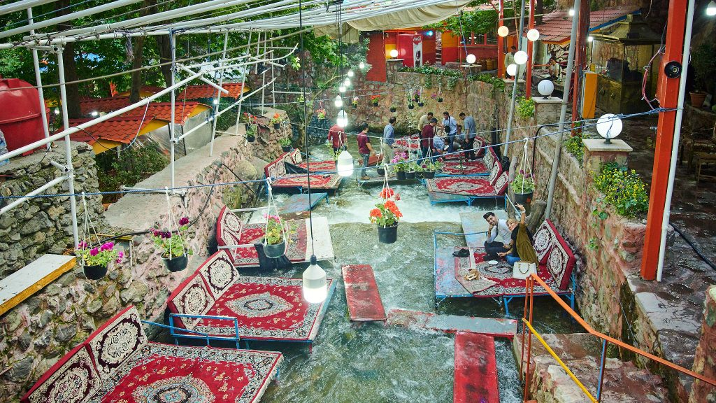 Unique cafe in the middle of a river in Darban district in Tehran, Iran