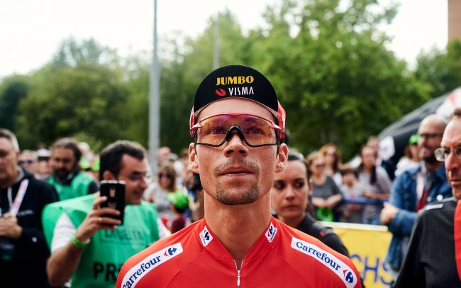 Focused portrait of Jumbo-Visma's top Slovenian cyclist Primoz Roglic