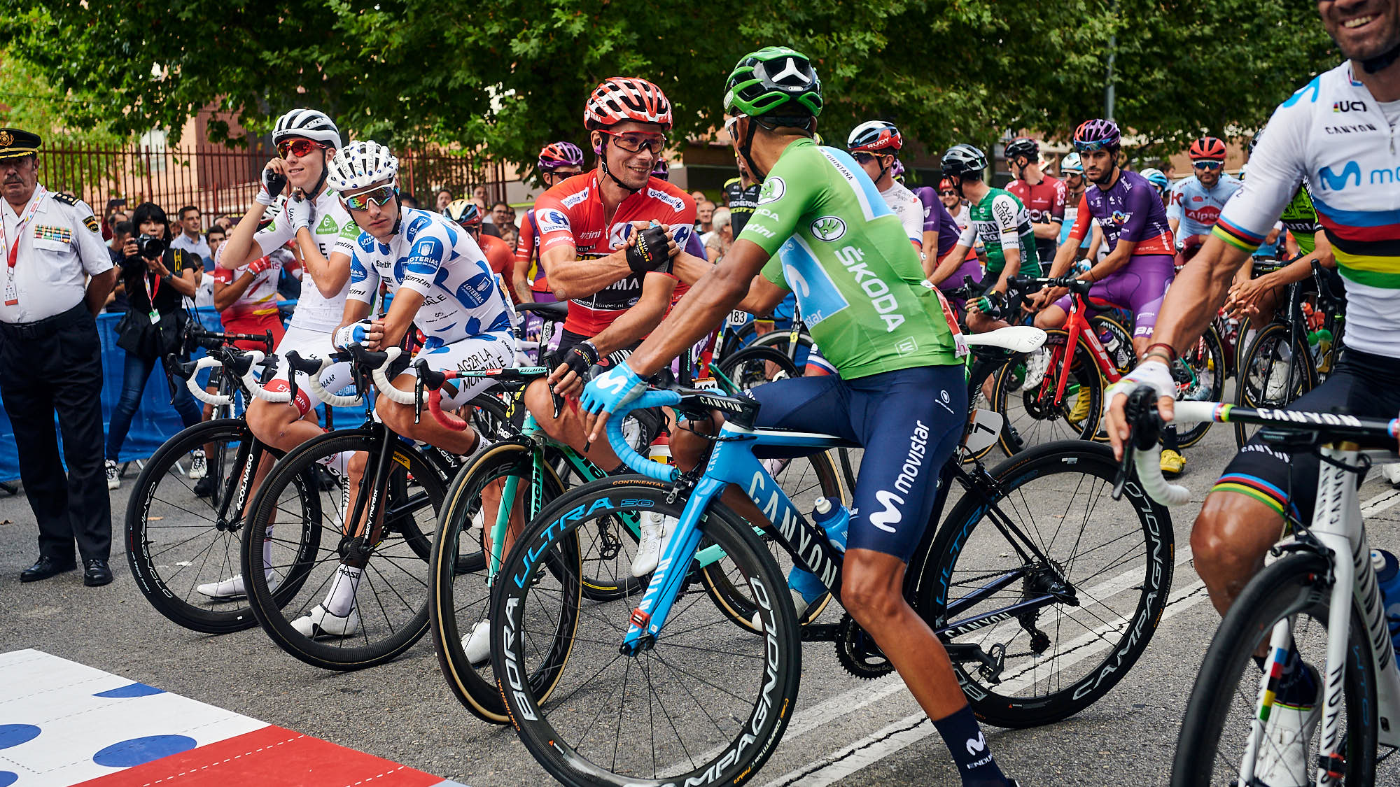 Primoz Roglic shaking hands with Nairo Quintana during La Vuelta in Spain
