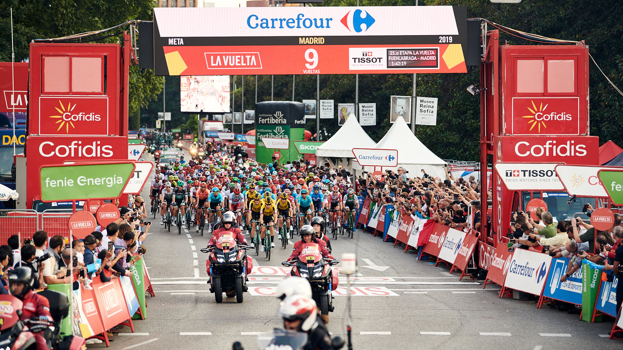 La Vuelta peloton crosses the line during La Vuelta final in Madrid