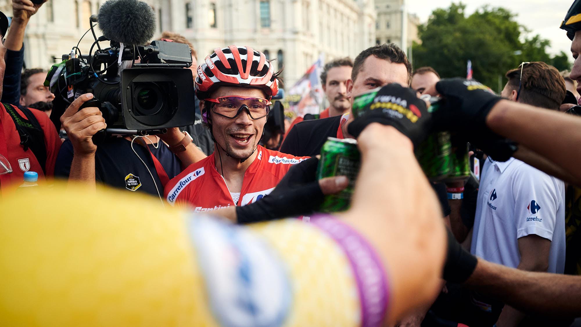 Elite Slovenian cyclist Primoz Roglic celebrating after winning La Vuelta