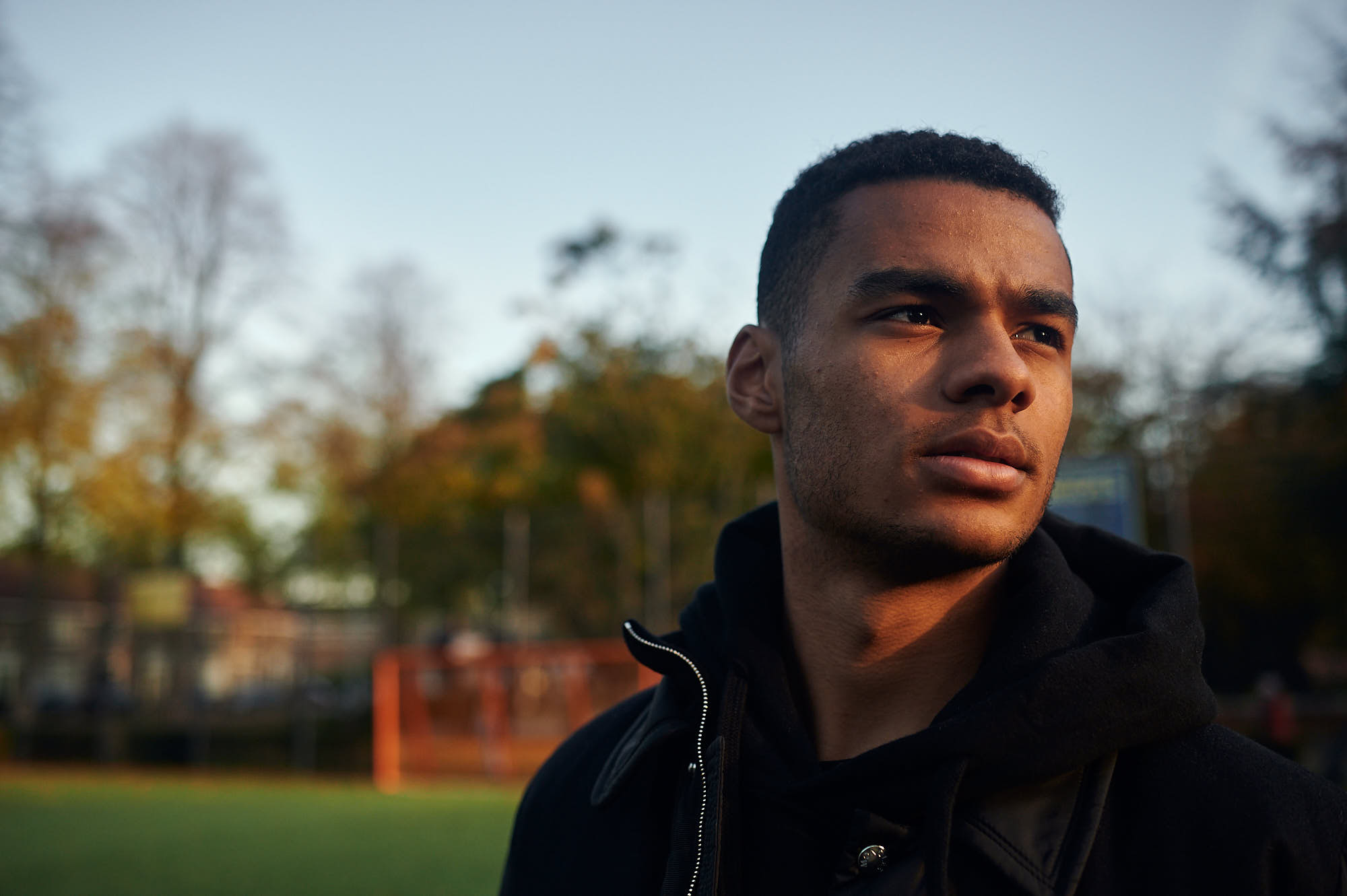 Intimate portrait of PSV Eindhoven football player Cody Gakpo