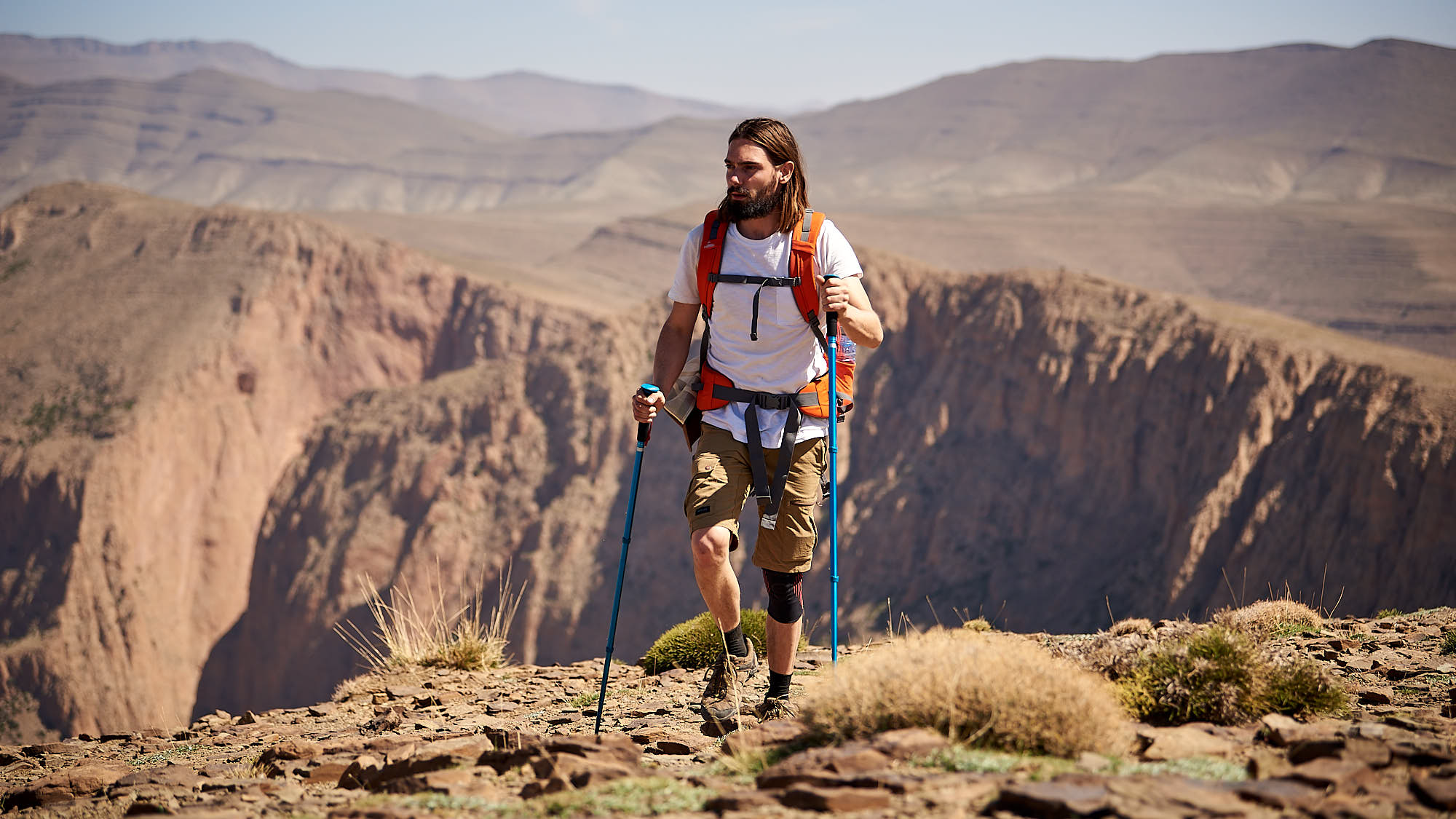 Hiker in Morccan mountain ridge
