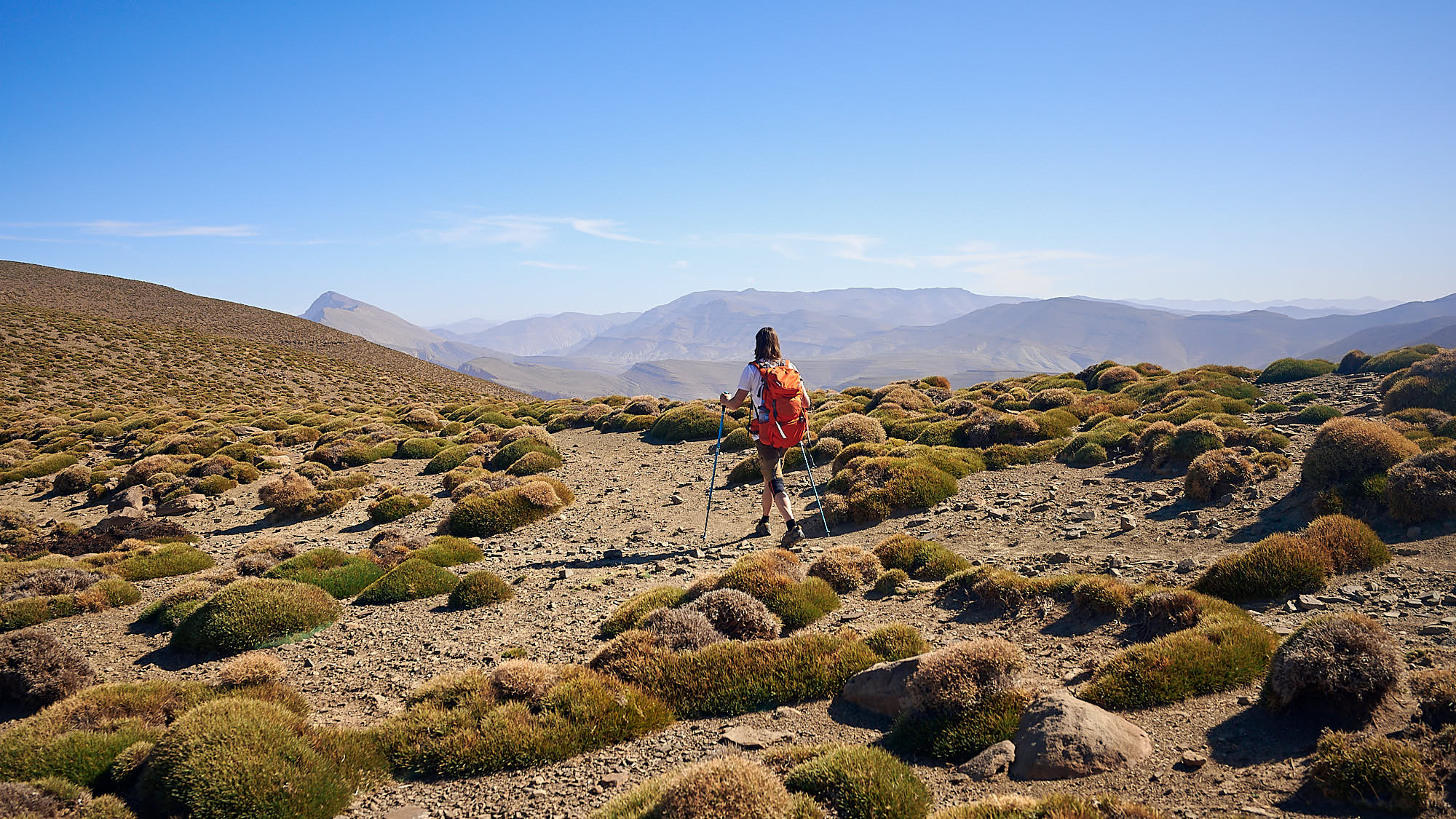 Climber hiking in Morocco's High Atlas mountains