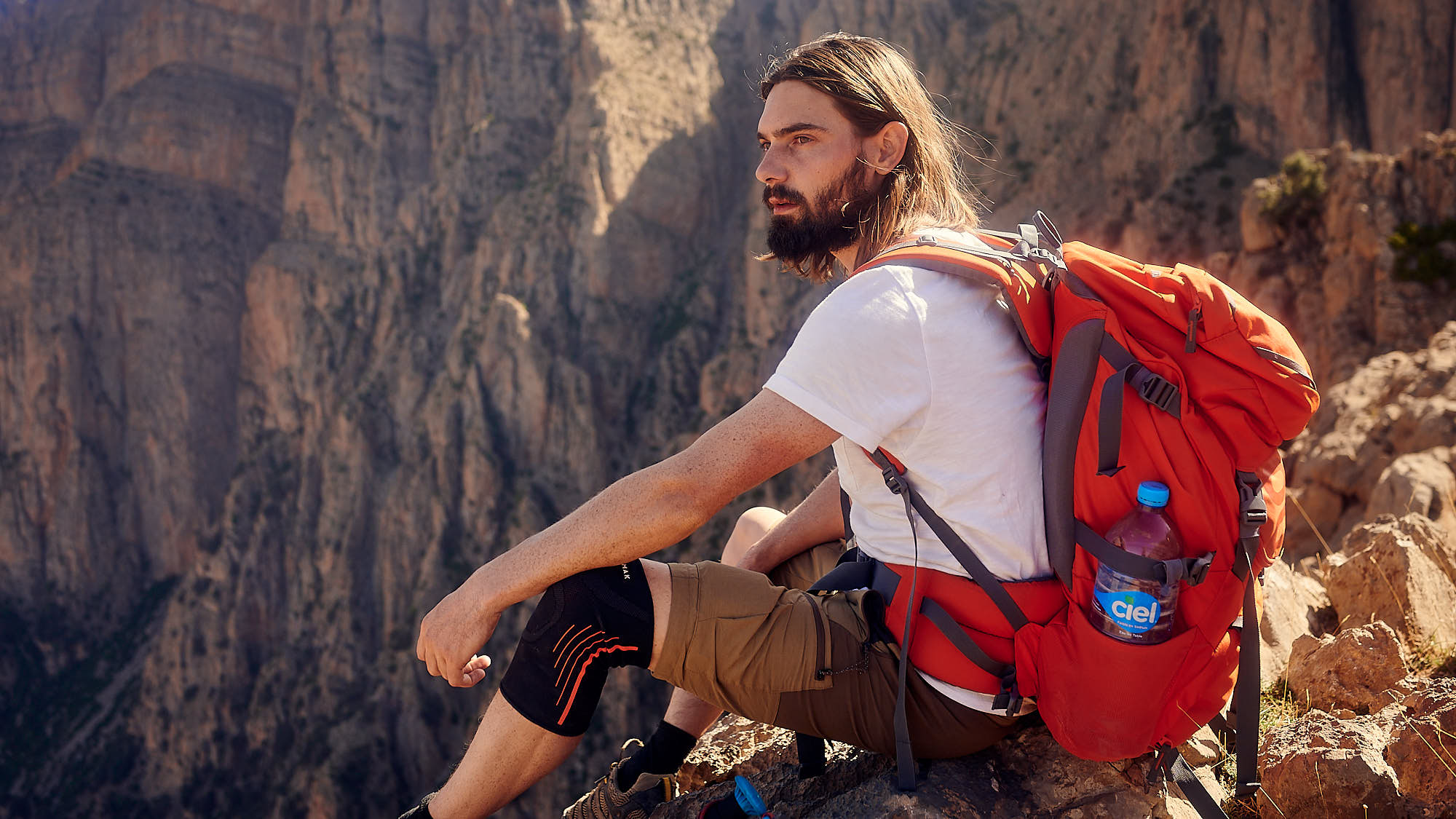 Hiker relaxing in the Moroccan High Atlas