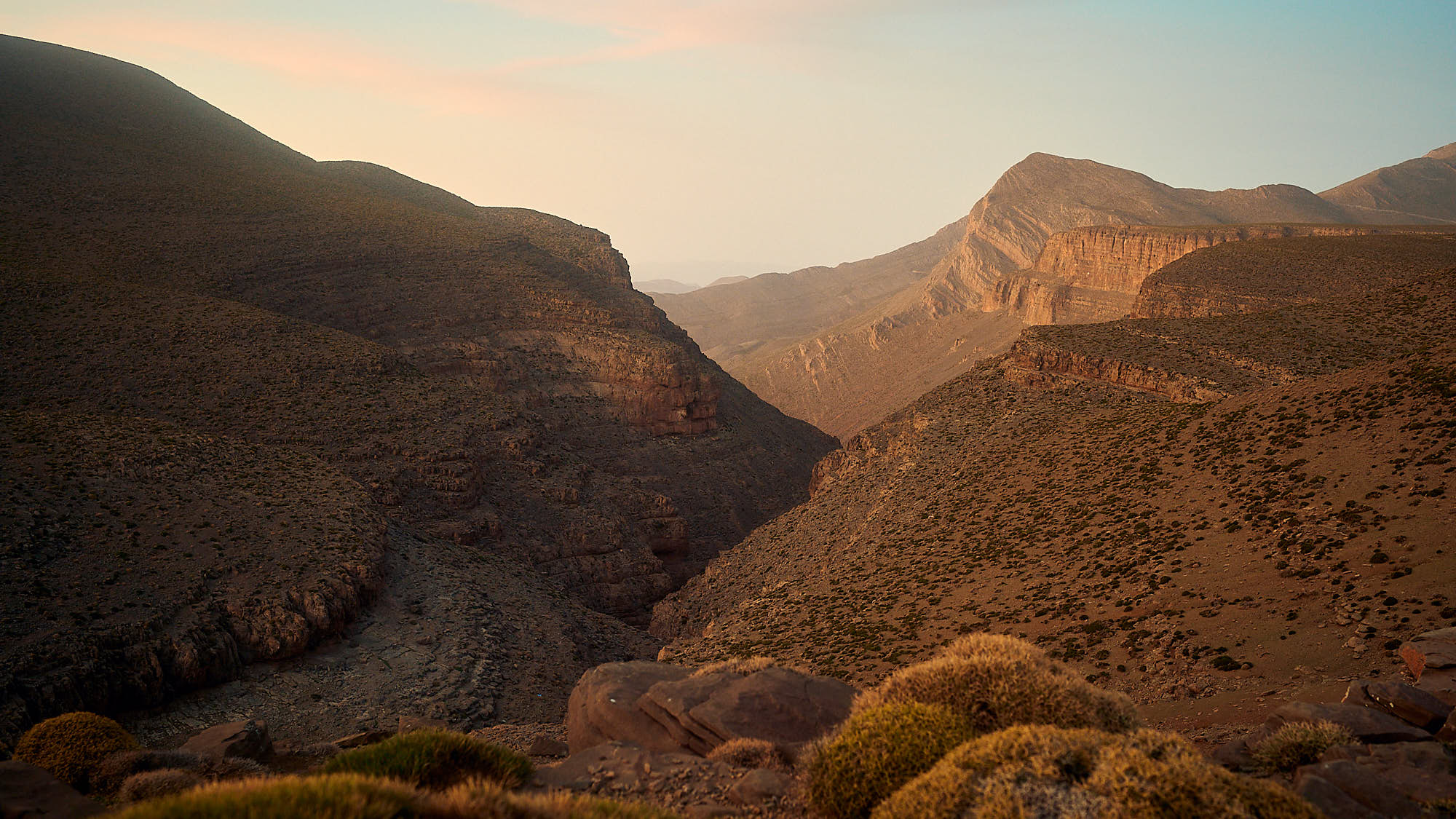 Landscape view in Morocco's High Atlas mountain ridge