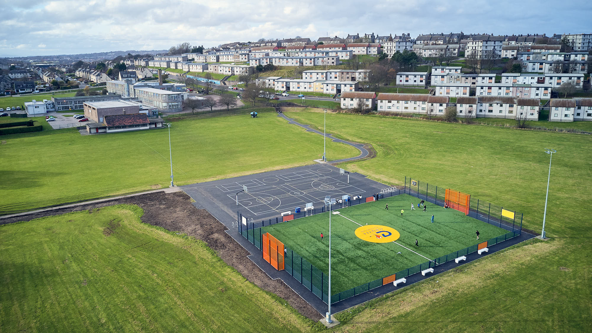 Aerial view of a Cruyff Court in Aberdeen