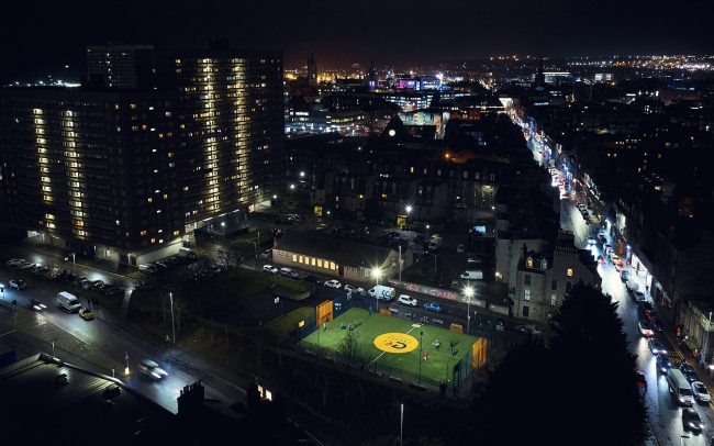 Nightly aerial view of a Cruyff Court in Aberdeen, Scotland