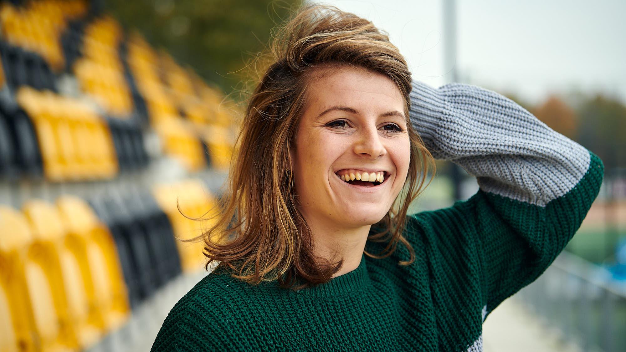 Portrait of Dutch national women's hockey team keeper Josine Koning