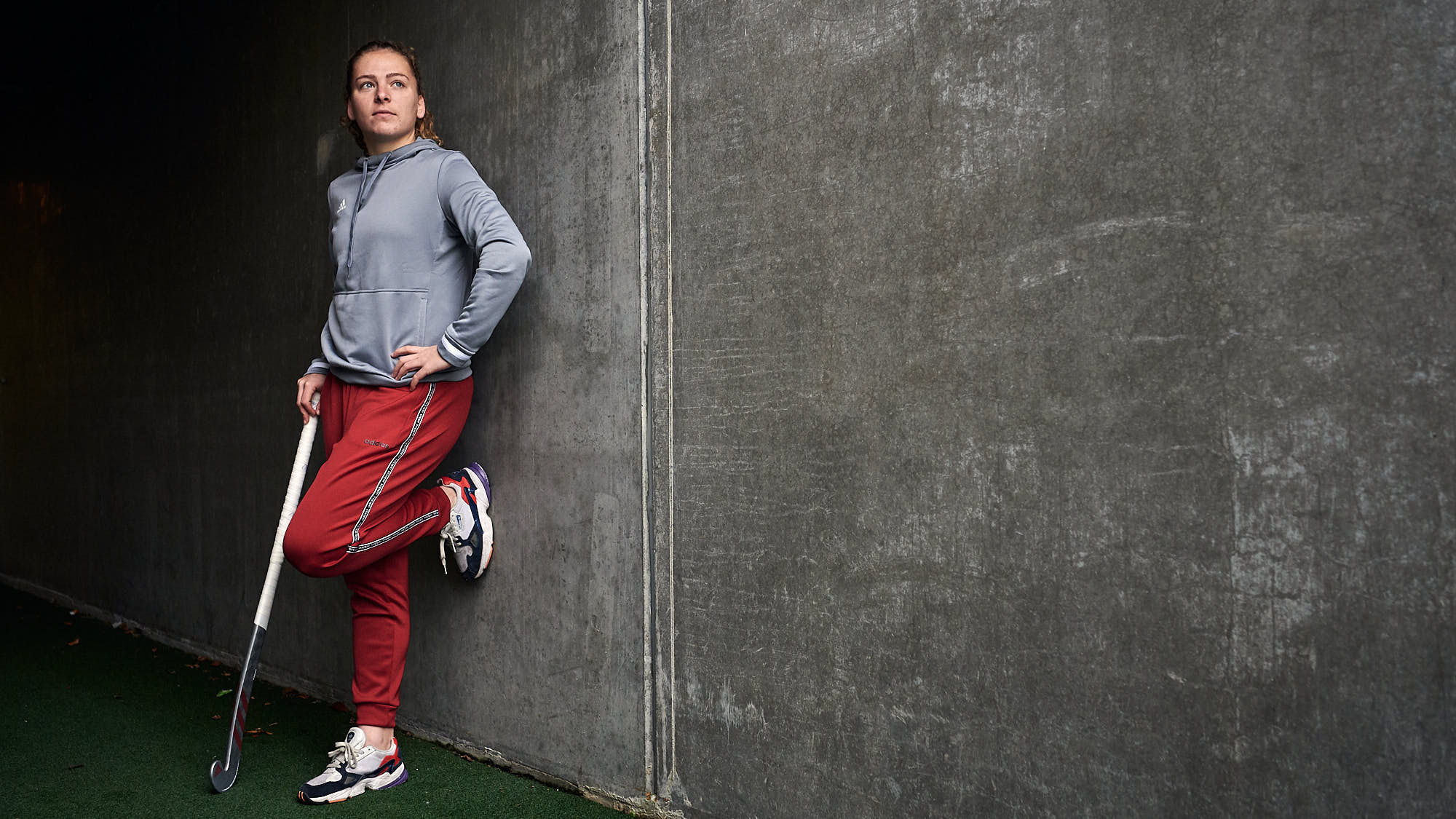 Full body portrait of hockey athlete Hester van der Veld