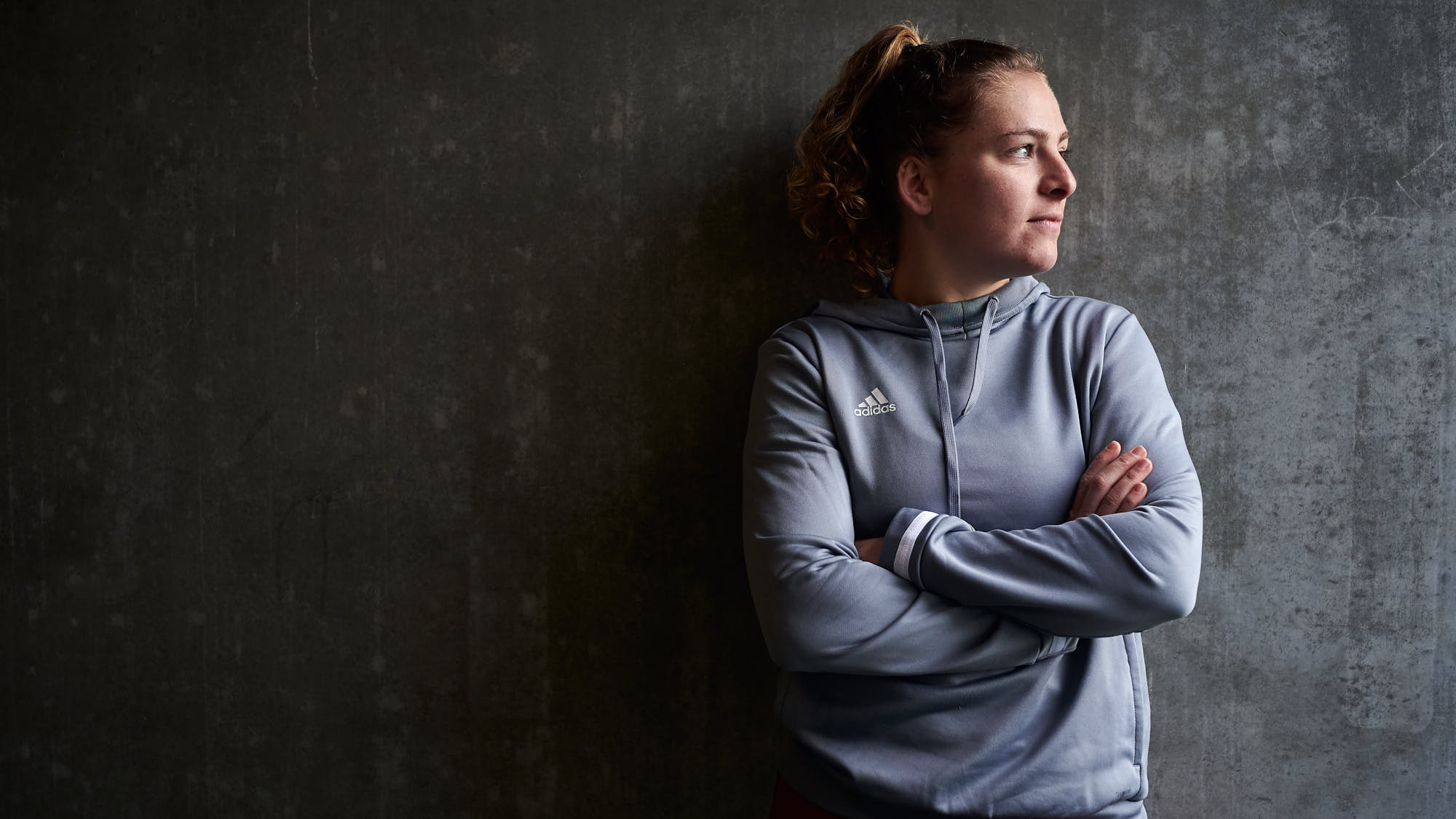 Moody portrait of Dutch hockey player Hester van der Veld