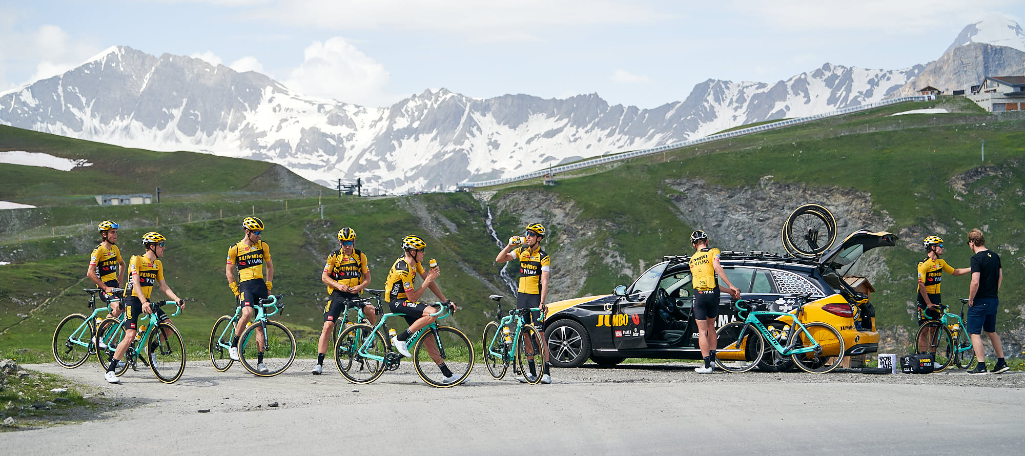 Team Jumbo-Visma riders resting on the Col de l'Iseran