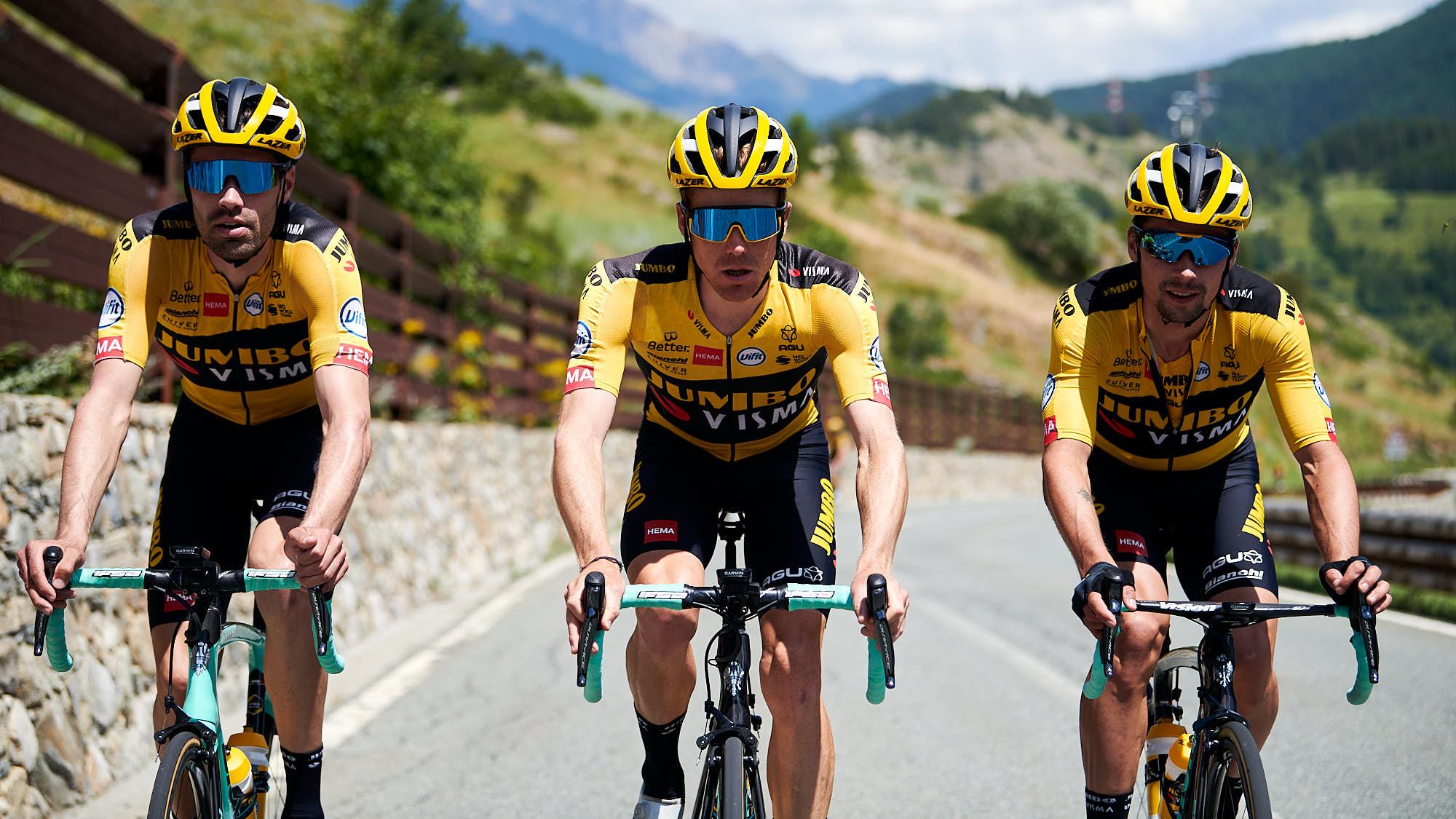 Jumbo-Visma's team leaders Primoz Roglic, Steven Kruijswijk and Tom Dumoulin training in Tignes